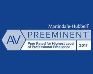 Martindale-Hubbell Peer Rated for Highest Level of Professional Excellence 2017